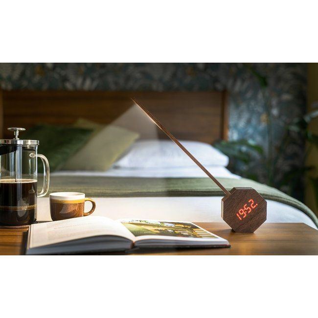 Gingko Bureaulamp & Klok Wekker Octagon One PLUS - notenhout