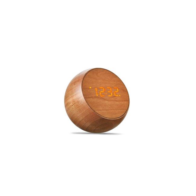 Gingko - Réveil Tumbler Click Clock - bois de cerisier
