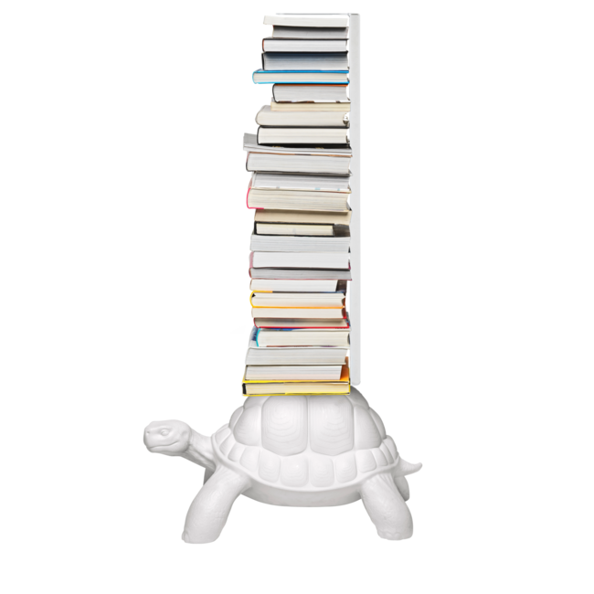 Qeeboo Book Rack Turtle Carry - white