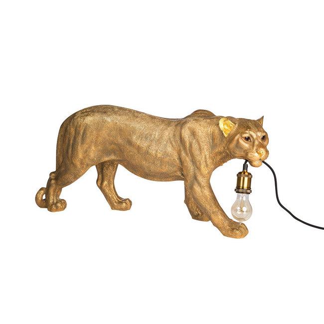 Vloer- of Tafellamp - Dierenlamp Luipaard - goud - B 77 cm