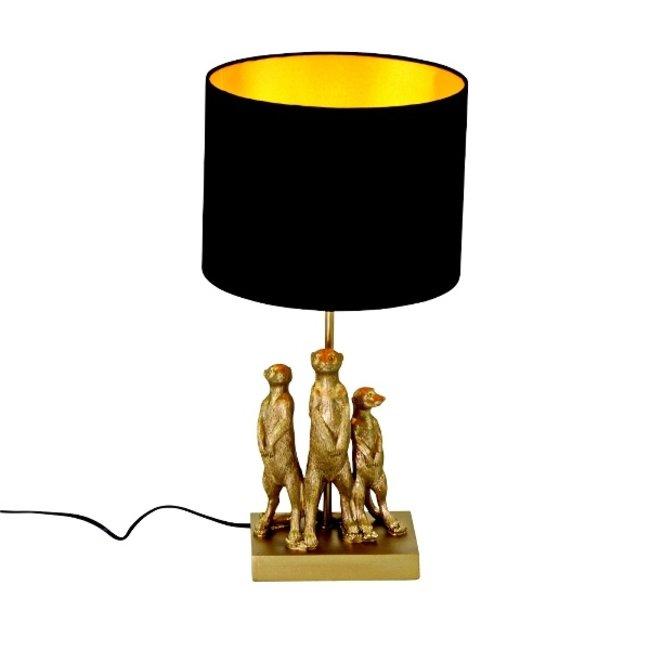 Werner Voß - Tafellamp - Dierenlamp Stokstaartjes - goud/zwart - H 50 cm