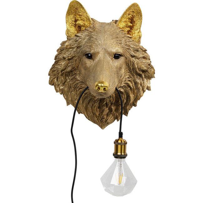 Wandlamp - Dierenlamp Gouden Wolf