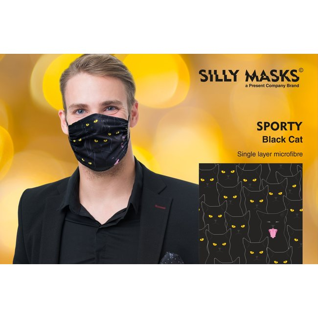 Silly Masks Mundmaske schwarze Katze