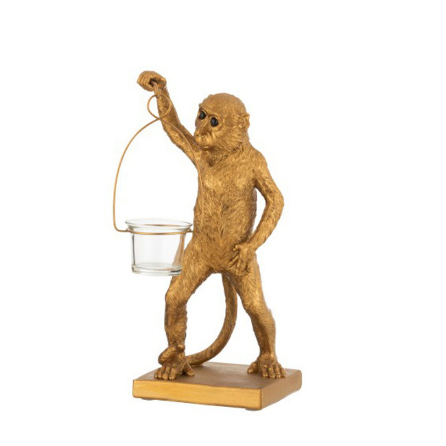 Tea-Light Holder Monkey - gold - H 30 cm