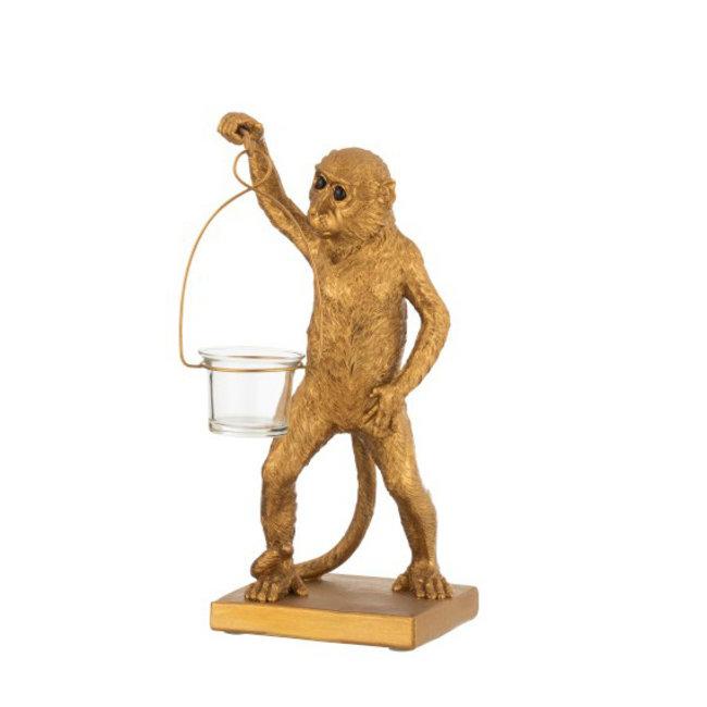 Teelichthalter Affe - Gold - H 30 cm
