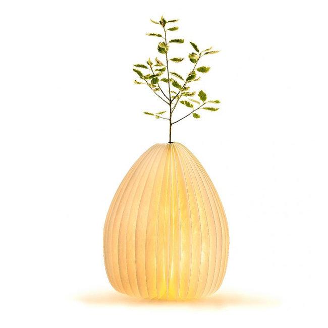 Gingko - Smart Vase Lampe - Nussbaum - wiederaufladbar