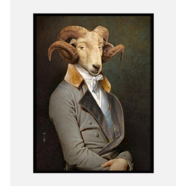 Ibride - Gemälde Portrait Widder Bel Ami - groß - limitierte Auflage, nummeriert und signiert