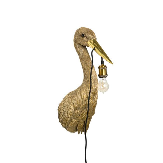 Wandleuchte - Tierlampe goldener Reiher - H 62 cm