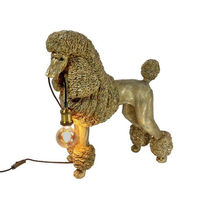Werner Voß - Lampe de Table - Lampe Animale Chien Caniche Elves - doré - H 60 cm