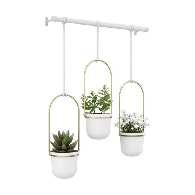 Umbra - Bloempot Triflora - hangend - wit/goud