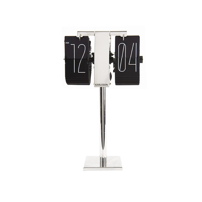 Karlsson Flip Clock No Case Mini - black/chrome