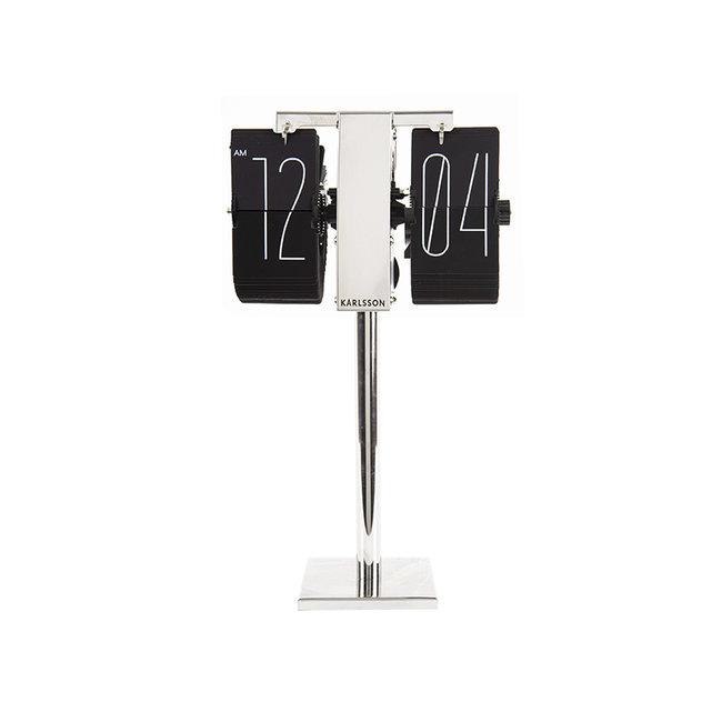 Karlsson Flip Clock No Case Mini - noir/chromé