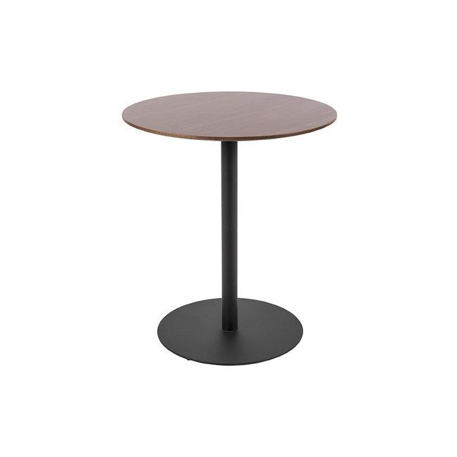 Leitmotiv - Side table Dot - steel / walnut wood