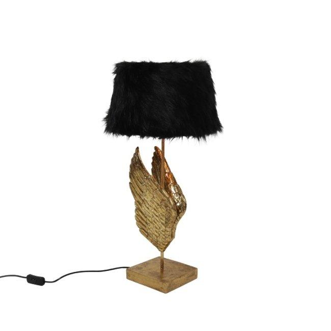 Werner Voß - Tischlampe Goldene Flügel - gold schwarz - Plüsch