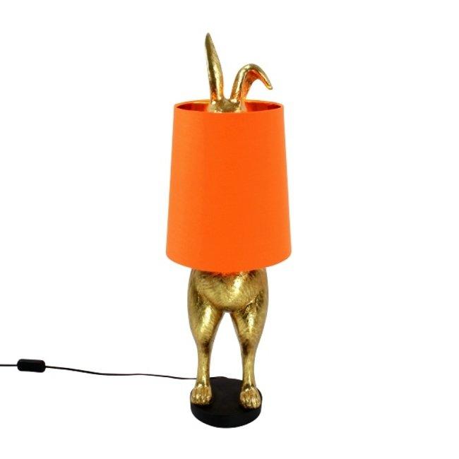 Werner Voß - Tafellamp Konijn Hiding Bunny - goud/oranje - H 74 cm