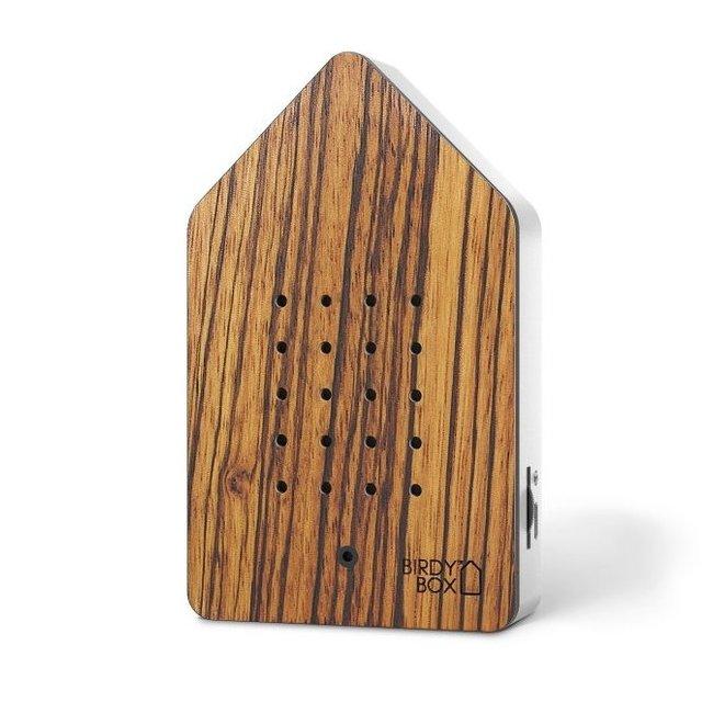 Zwitscherbox - Birdybox - zebrano hout - 20 sec. - oplaadbaar