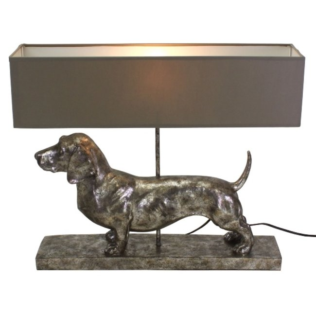 Werner Voß - Table Lamp - Animal Lamp Dachshund Frank - silver/grey