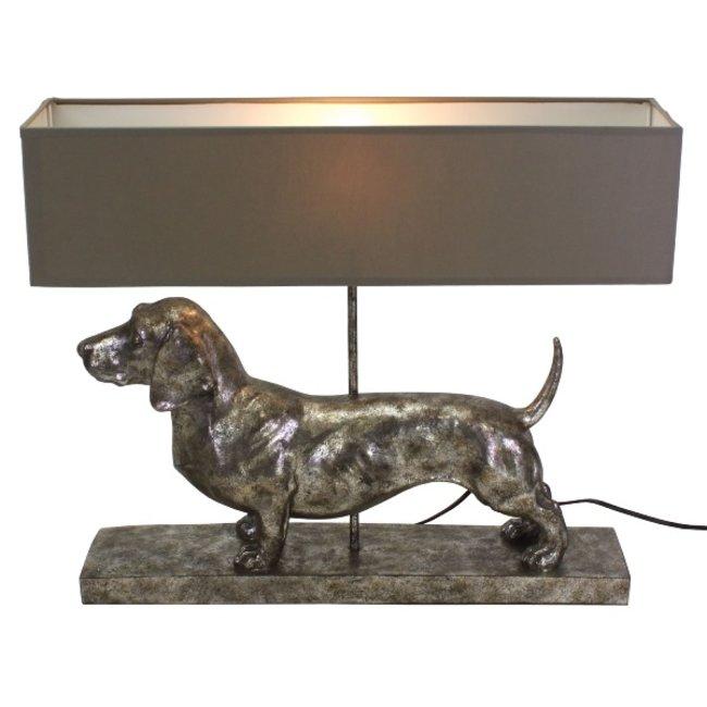 Werner Voß - Tischlampe - Tierlampe Dackel Frank - silber/grau