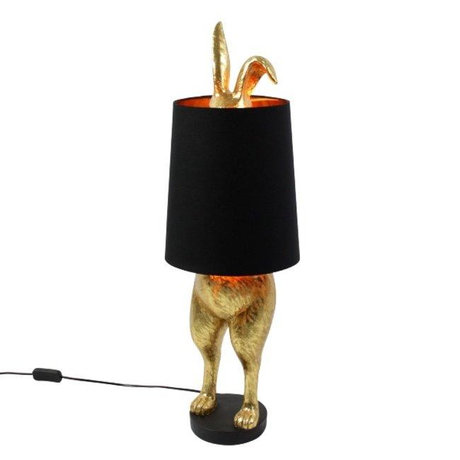Werner Voß - Tafellamp Konijn Hiding Bunny - goud/zwart - H 74 cm