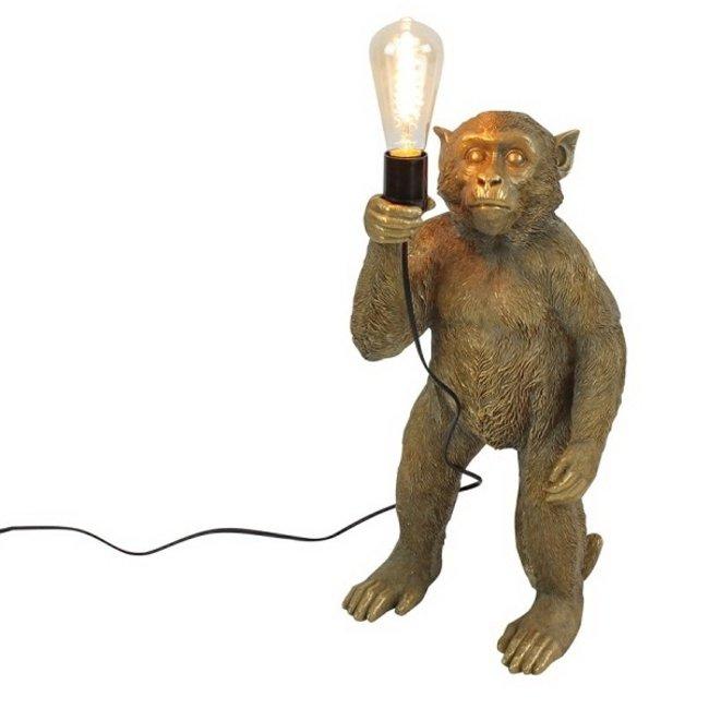 Werner Voß - Lampe de Table - Lampe Animale Singe Doré Koko - debout