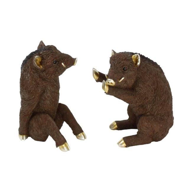 Werner Voß - Buchstütze - Skulpturen Wildschweine - 2er Set