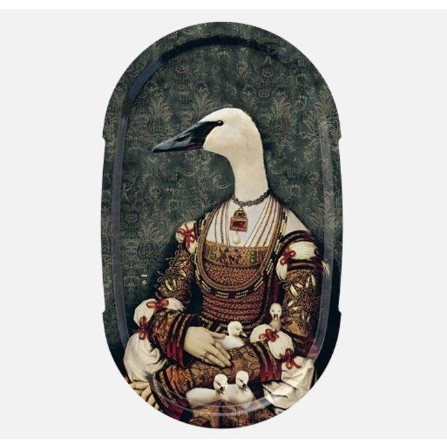 Ibride - Tablett / Gemälde Ellipse - Schwan Bianca - large