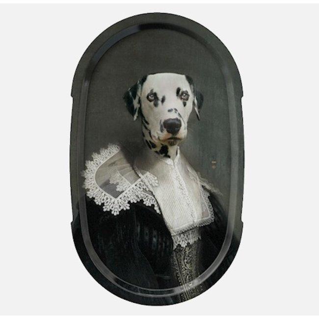 Ibride - Tablett / Gemälde Ellipse - Hund Sapho - large