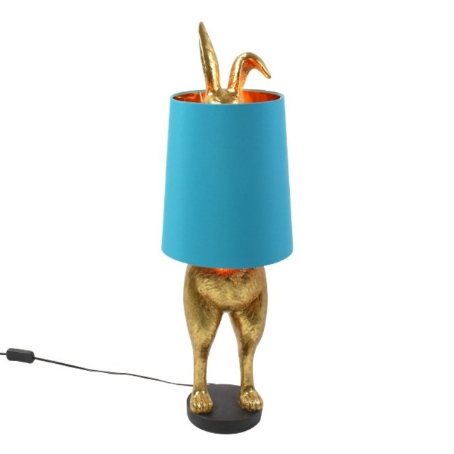 Werner Voß - Table Lamp  - Animal Lamp Hiding Bunny - gold/turquoise - H 74 cm
