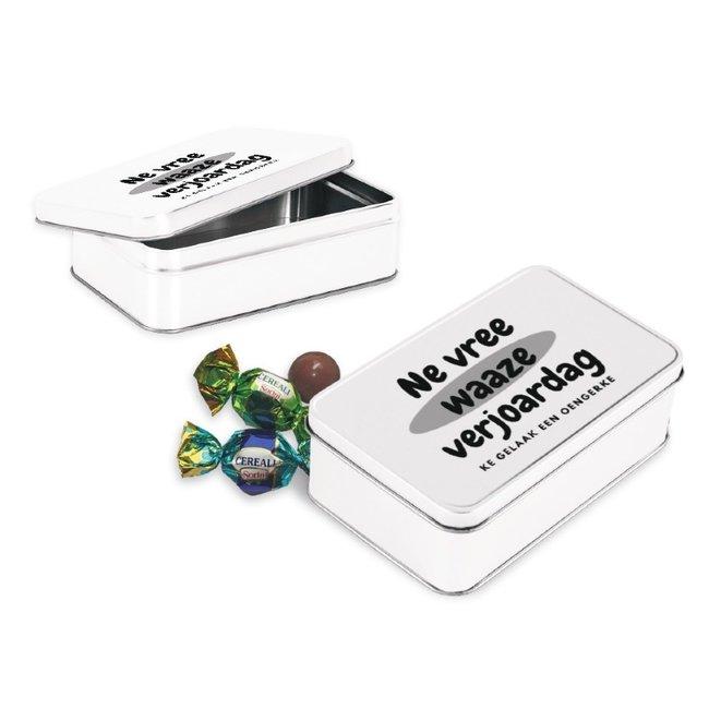 Geburtstagsgeschenkbox mit Schokoladenkugeln - im Genter Dialekt