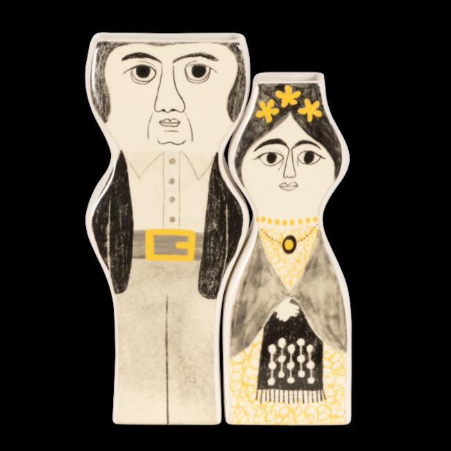 Kitsch Kitchen - Vaas Set Frida en Diego - zwart/wit