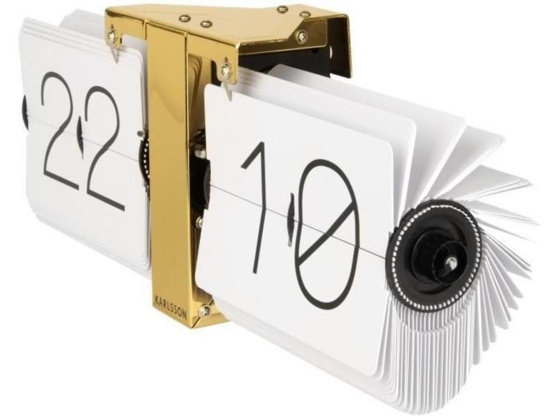 Karlsson Flip Clock 'No Case' (blanc/laiton)