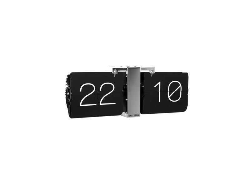 Karlsson Flip Clock 'No Case' (noir/chromé)