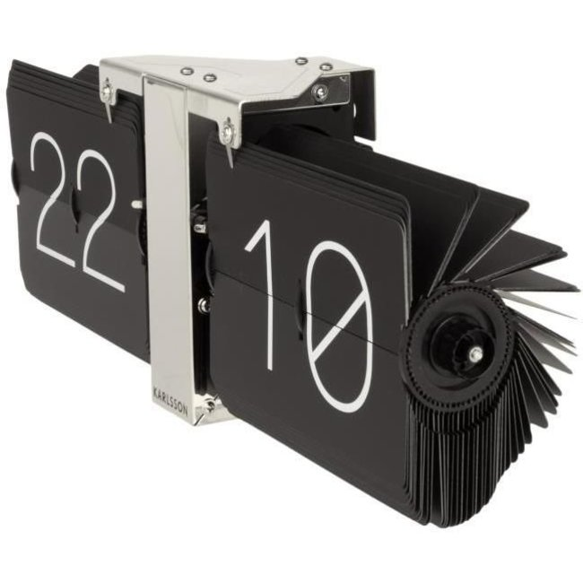 Karlsson Flip Clock 'No Case' (black/chrome)