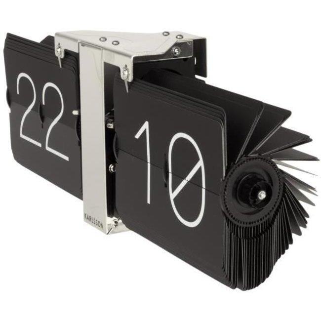 Karlsson Flip Clock 'No Case' (schwarz/chrom)
