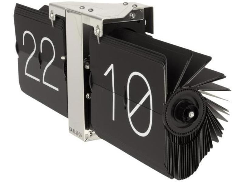 Karlsson Flip Clock 'No Case' (black/chrome)