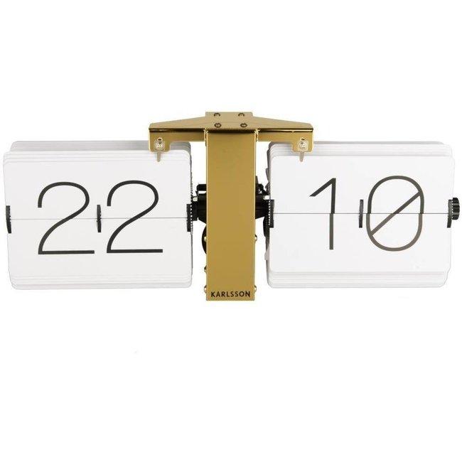 Karlsson Flip Clock 'No Case' (weiß/bronze)