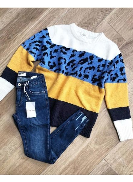 LEO STRIPE SWEATER BLUE