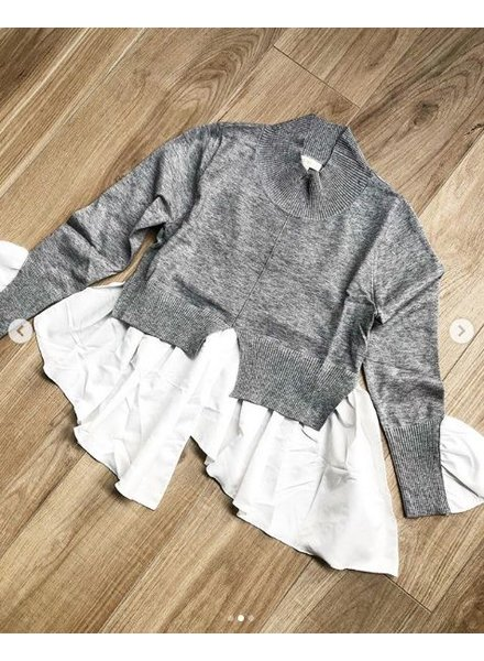 BLOUSE COMBI SWEATER GREY
