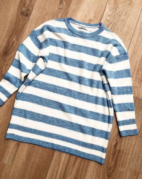 SWEATER DRESS STRIPE BLUE