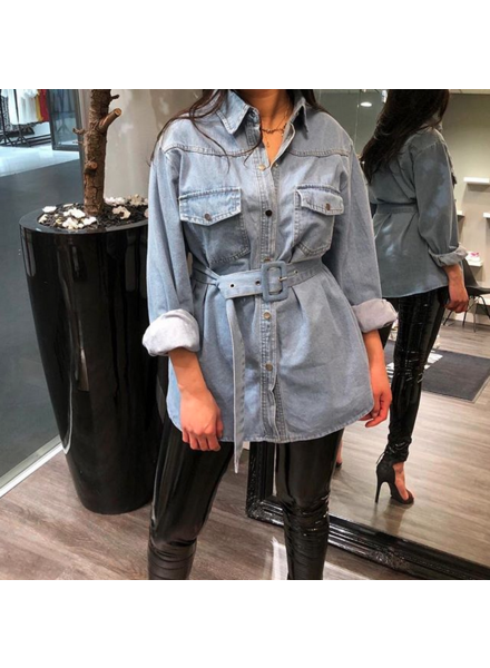 DENIM BELT BLOUSE