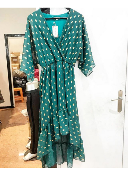 GOLDEN DOTT DRESS GREEN