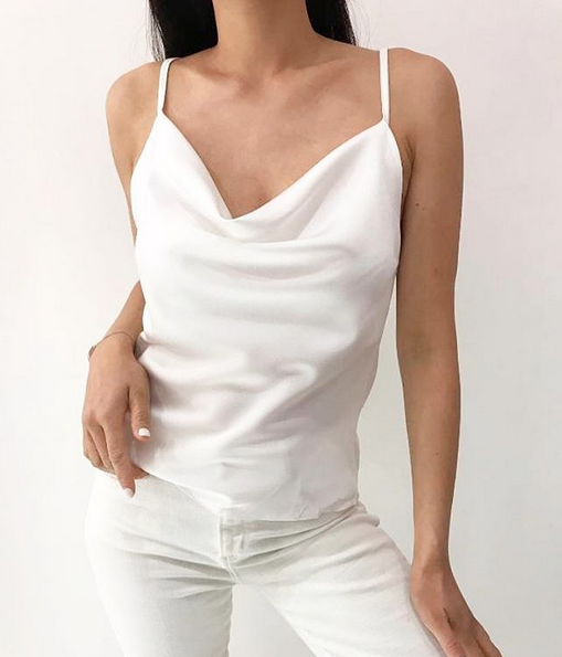 WHITE SATIN TOP