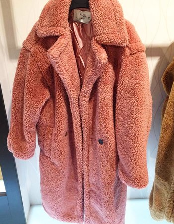 FLUFFY TEDDY COAT OLD PINK