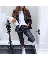 LEATHER JOGGERS BLACK