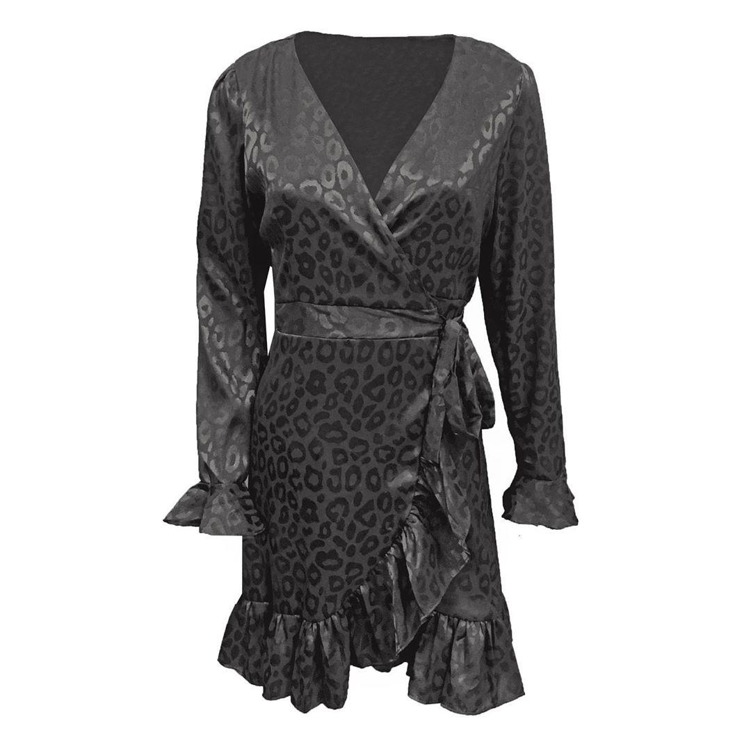 BLACK FESTIVE LEO DRESS