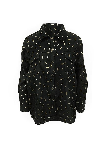 GOLDEN RIB LEAF BLOUSE BLACK