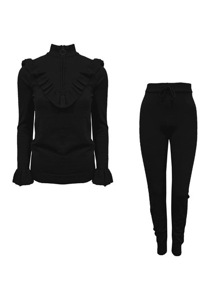 TURTLE NECK RUFFLE SET BLACK