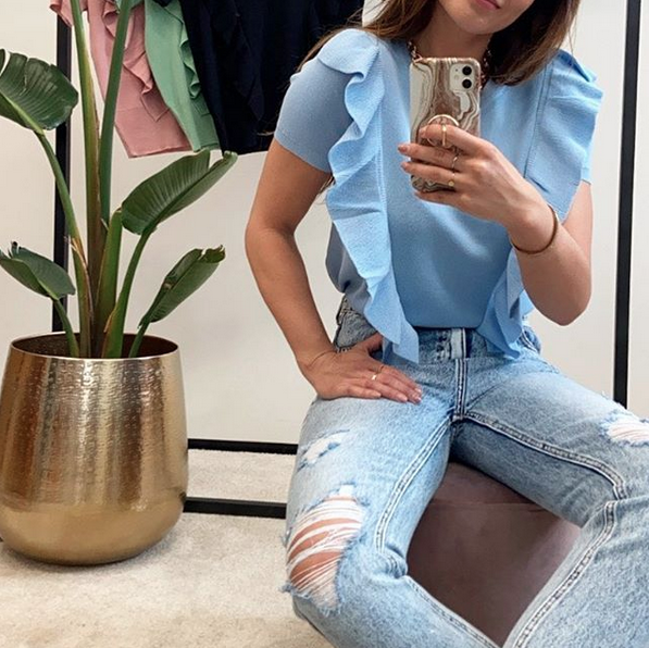 RUFFLE BABY BLUE TOP