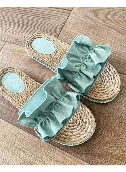 RUFFLE SANDALS GREEN
