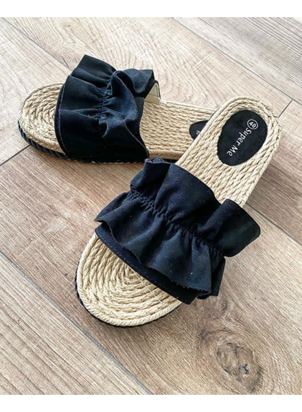RUFFLE SANDALS BLACK